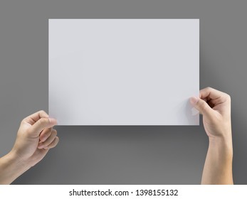 Hands holding paper a4 size for advertising concept, clipping path Isolated.