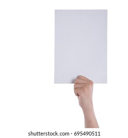 Hands holding paper blank a4 size for letter paper.