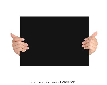 hands holding paper on a white background