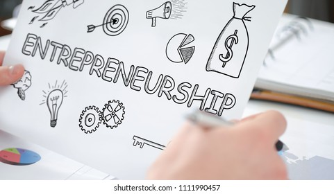 Hands holding a paper showing an entrepreneurship concept