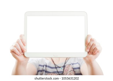 hands holding pc tablet isolated on white.