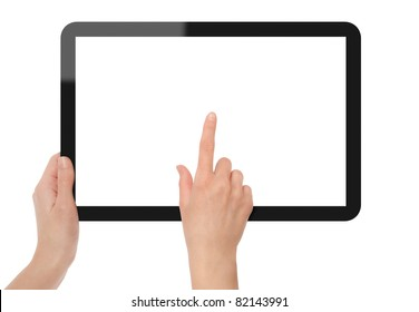 Hands holding and point on digital tablet. Include 3 clipping path for two hands and screen. Isolated on white.