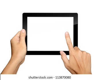 hands are holding and point on Tablet PC Isolated on white background