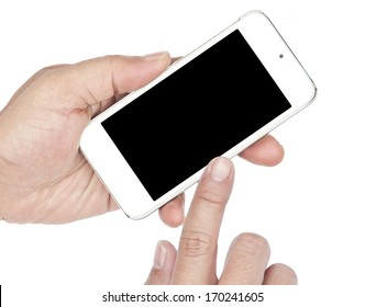 Hands  holding and point  Smart Phone on white background