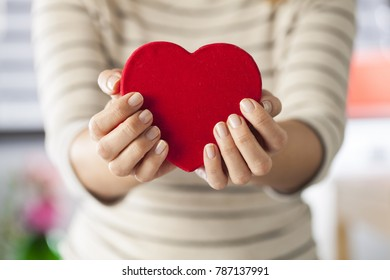 Hands holding a red heart.