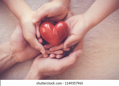 hands holding red heart, health insurance, donation concept, world health day