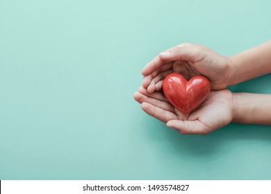 hands holding red heart, health care, hope, love, organ donation, mindfulness, wellbeing, family insurance and CSR concept, world heart day, world health day, National Organ Donor Day, praying concept