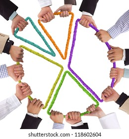 Hands holding rope forming colorful circular graph