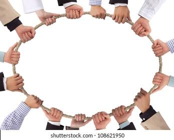 Hands holding rope forming ellipse