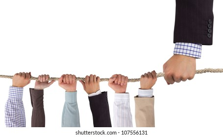 Hands holding rope with white space for text, leadership concept
