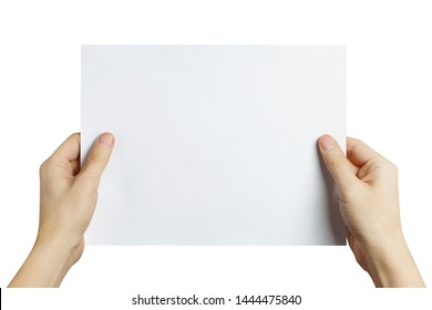 Hands holding a sheet of white paper, isolated on white background
