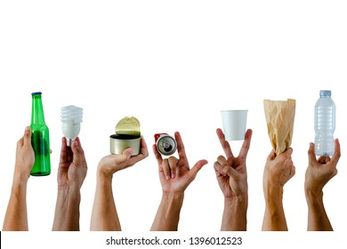 Hands holding and show recycle materials on white background. Reuse and Recycle for World environment concept.