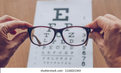 Hands holding sight glasses in front of optician sight chart.