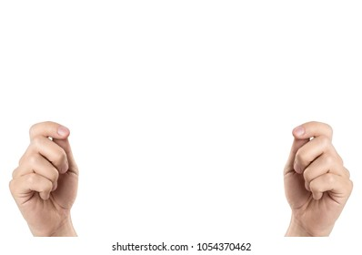 Hands holding something invisible, isolated on white background