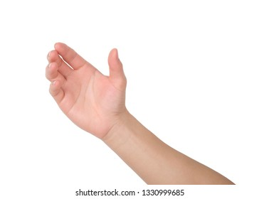 Hands holding something on white background, Hand isolated with clipping path.