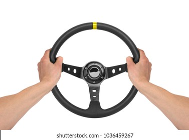 Hands holding steering wheel isolated on white - Shutterstock ID 1036459267