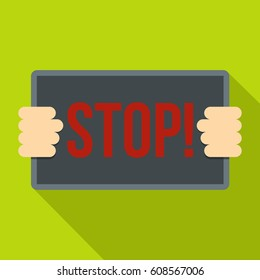 Hands holding stop placard icon. Flat illustration of hands holding stop placard  icon for web isolated on lime background