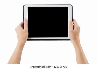 Hands holding tablet horizontal on white background. clipping path