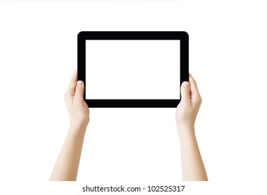 Hands holding Tablet PC, isolated, clipping path