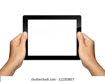 hands are holding Tablet PC Isolated
