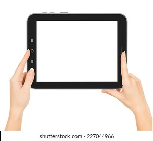 hands holding tablet pc with white screen