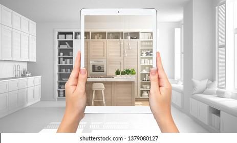 Handtücher mit moderner weißer und hölzerner Küche, unverblindeter Hintergrund des Projekts, erweitertes Reality-Konzept, Anwendung zur Simulation von Möbeln und Innendekorationsprodukten, 3D-Illustration