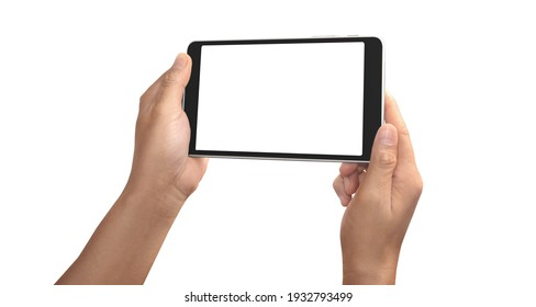 Hands holding tablet touch computer gadget with isolated screen