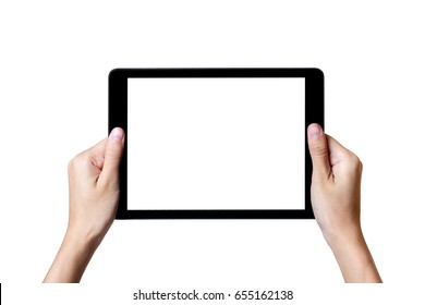 hands holding a tablet touch computer  with isolated screen