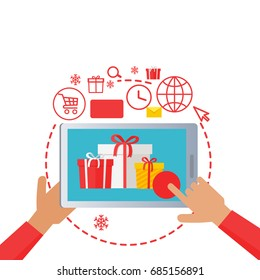 Hands holding tablet with xmas best sale. Process of buying presents via the Internet. E-commerce business, New Year seasonal sale in cartoon style. web banner illustration in flat design