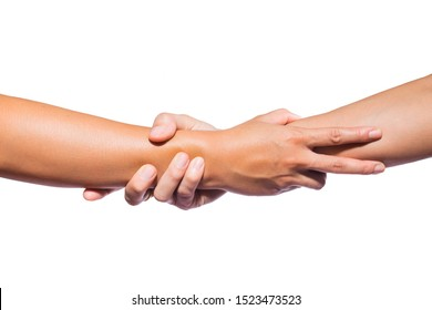 Hands holding together or hold the arm area to show help to each other, show confidence isolated on white background.