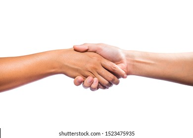 Hands holding together to show help to each other, Show confidence, Joint businessisolated on white background.