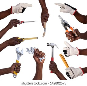 Hands holding tools isolated on white background