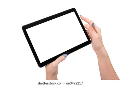Hands Holding Touch Screen