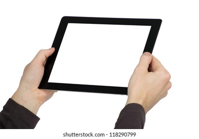 hands are holding the touch screen device