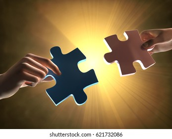 Hands holding two puzzle pieces. 3D illustration.