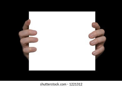 Hands holding a white board with space for text
