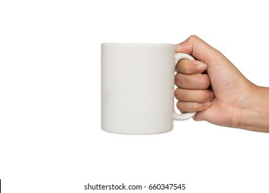 Hands holding white cup of coffee or tea on white background.