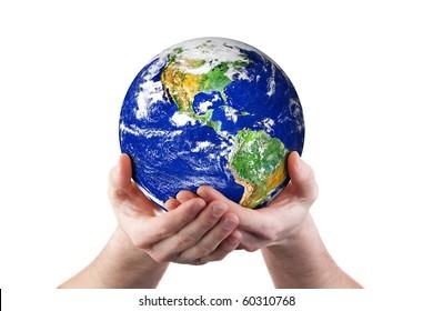 Hands holding world globe. Isolated on white.  Earth image courtesy of NASA