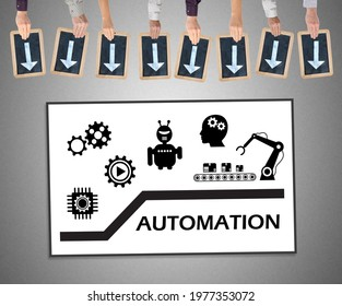 Hands holding writing slates with arrows pointing on automation concept
