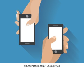 Hands holing smartphones. Using smart phone flat design concept