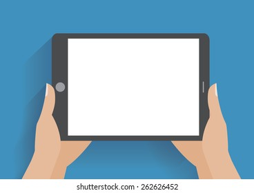 Hands holing tablet computer with blank screen. Using digital tablet pc similar to ipad, flat design concept