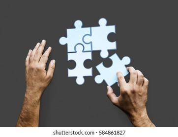 Hands Jigsaw Puzzle Together Partnership Teamwork