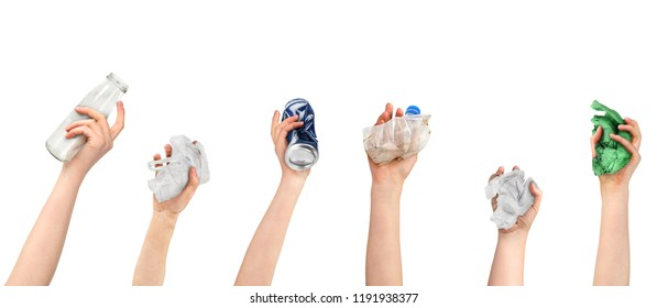 Hands keep garbage on a white background