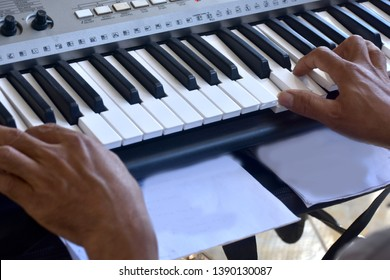 Hands of a keybord player during a live performance