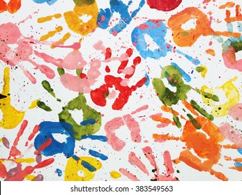 hands kids color art background