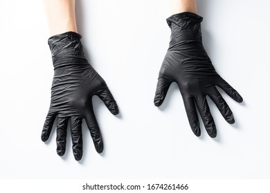 Hands in latex gloves. Protective gloves