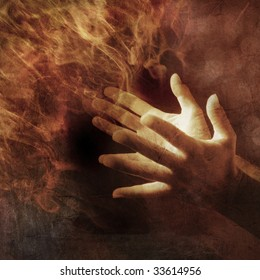Hands lit up with energy light. Photo based illustration.