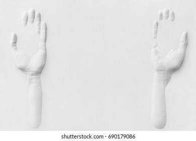 Hands made on a gypsum board, which are in a supportive position, to offer, to show. Good for product photography.