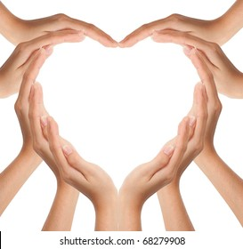 Hands make heart shape