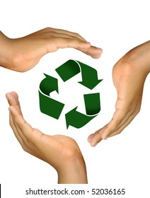 Hands making a cup over the recycle symbol isolated in white